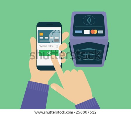 illustration of mobile payment via smartphone.