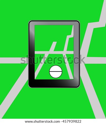 Illustration of mobile phone with map and ball - stock photo