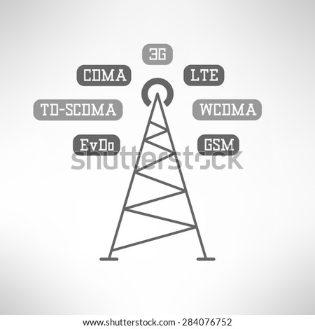 Illustration of mobile signal tower station made in modern flat design. Mobile internet infographics - stock photo