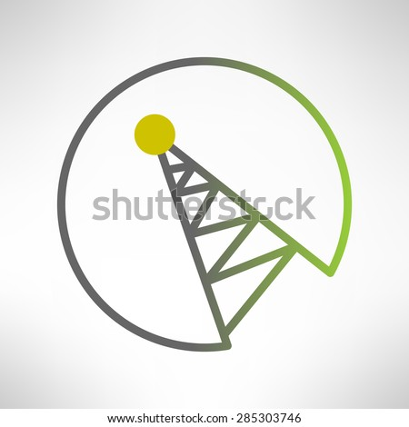 Illustration of mobile signal tower station made in modern flat design. Telecommunication icon - stock photo