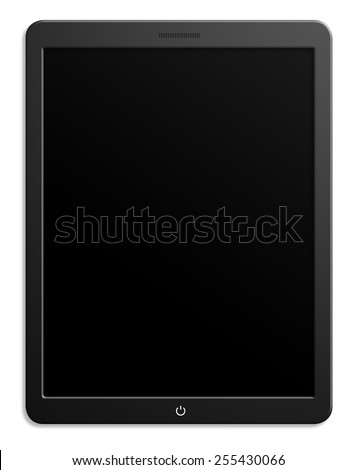 Illustration of modern computer tablet with black blank screen. Isolated on white background - stock photo
