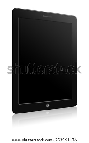 Illustration of modern computer tablet with blank screen. Black background