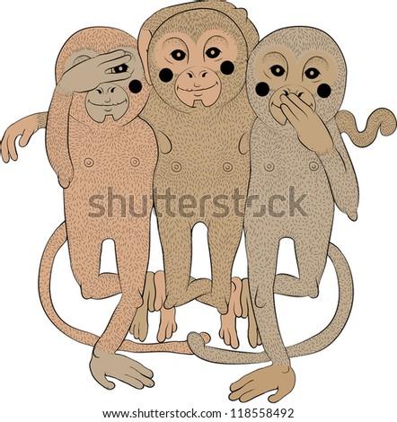 Illustration of monkey - stock photo