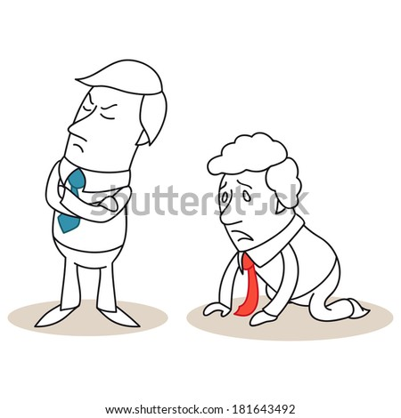 Illustration of monochrome cartoon characters: Offended businessman turning his back on desperate businessman kneeling on the ground. - stock photo