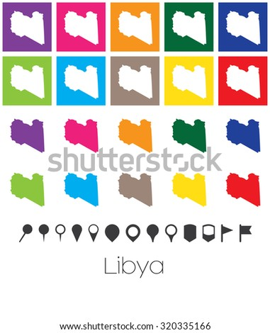 Illustration of Multiple Colours with Pointers of the map of Libya