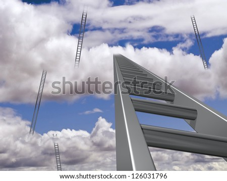 Illustration of multiple ladders rising through the clouds - stock photo