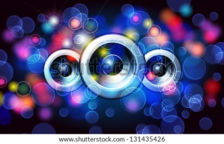 Illustration of music disco background with glittering rainbow lights - stock photo