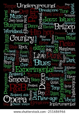 Illustration of music related words over a black background - stock photo