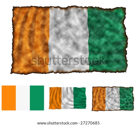 Illustration of national color of Cote d'Ivoire in three different styles