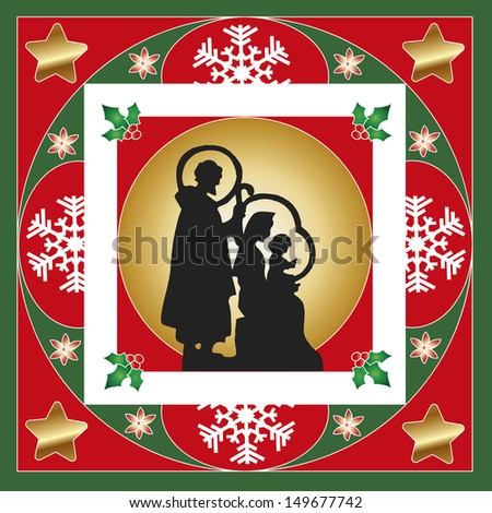 illustration of nativity card with frames and decorations - stock photo