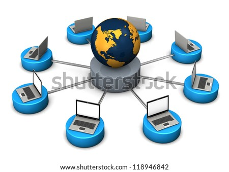 Illustration of networked world, with laptops and globe on white background. - stock photo