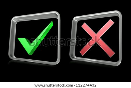 Illustration of no and yes signs icon - stock photo