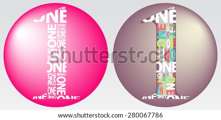 Illustration of Number One Digit Filled with Word One - stock photo