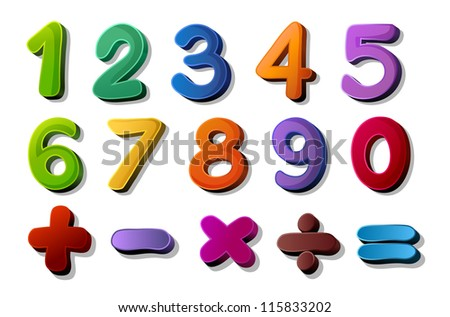 illustration of numbers and maths symbols on white background - stock photo
