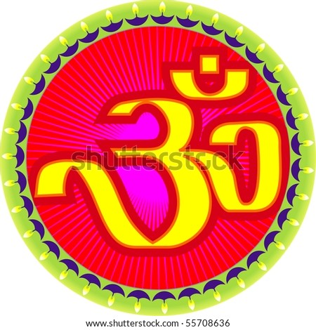 Illustration of ohm symbols with design work - stock photo