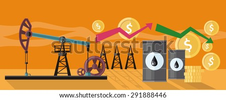 Illustration of oil production. Graphic changes in oil prices on the oil pump yellow field background. For web banners, promotional materials, presentation templates. Raster version - stock photo