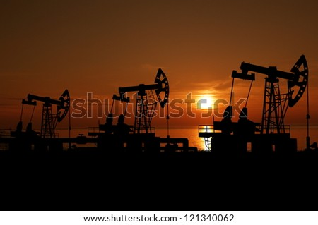 Illustration of oilfield from mining devices - stock photo