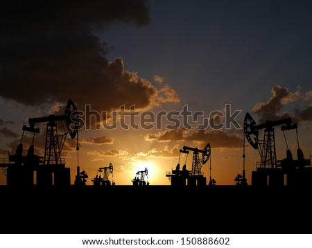 Illustration of oilfield with pump on sunset background - stock photo