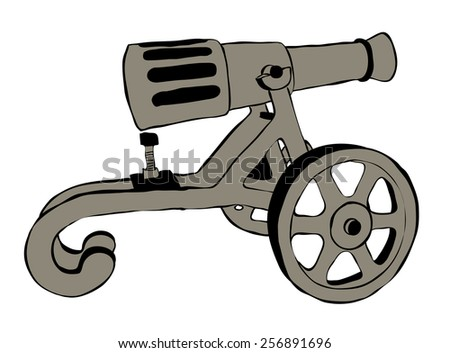 Illustration of Old Cannon Over The White Background - stock photo