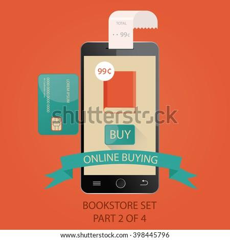 illustration of online bookstore. E-books. Picture 2 of 4. - stock photo