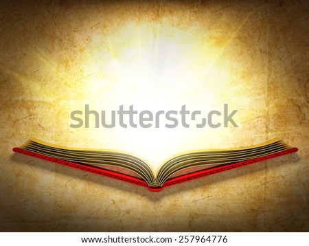Illustration of opened book shining against the ancient paper backgroung. - stock photo
