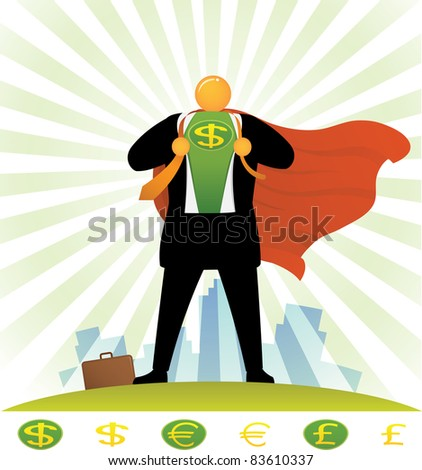 Illustration of orange head man in super hero costume - stock photo