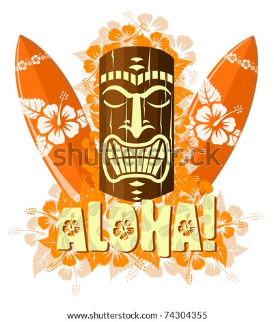 Illustration of orange tiki mask with surf boards, and hand drawn text Aloha - stock photo