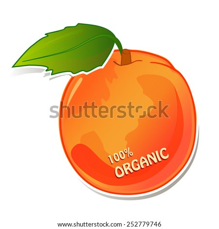 Illustration of organic juicy peach with green leaf - stock photo