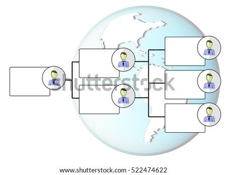 Illustration of organogram with earth globe