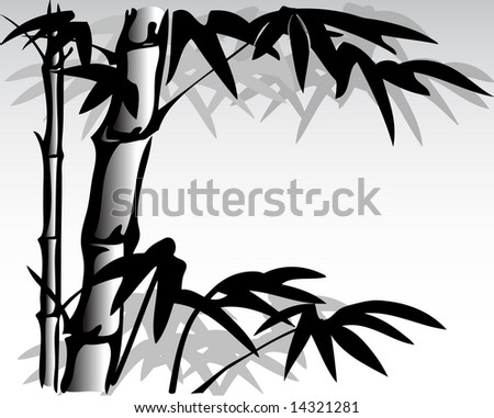 illustration of oriental inspired bamboo painting