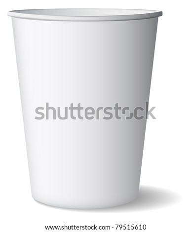 Illustration of paper glass is on white background - stock photo