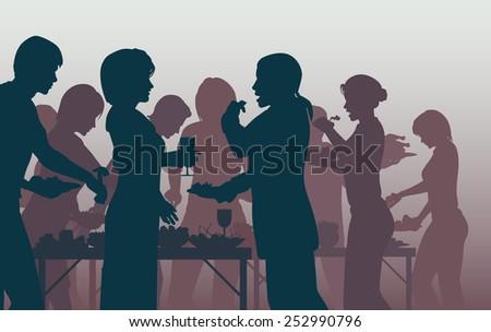 Illustration of people enjoying a buffet - stock photo