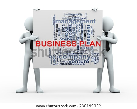 Illustration of people holding word tags wordcloud of business plan. - stock photo