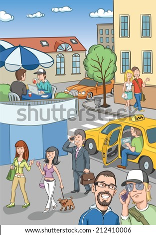 illustration of people in city streets
