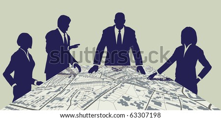 Illustration of people meeting around a generic city map - stock photo