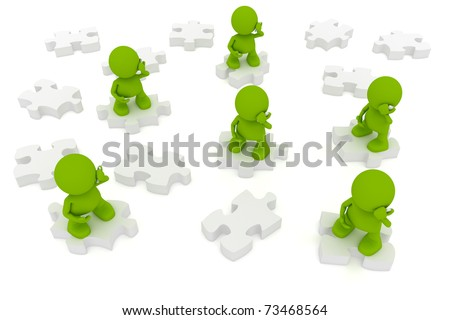 Illustration of people talking on mobile telephones while standing on puzzle pieces.  Part of my cute green man series. - stock photo