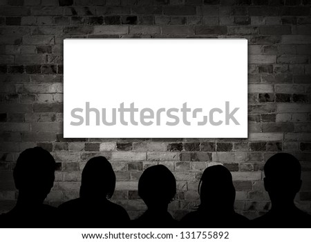 Illustration of people watching a blank screen - stock photo