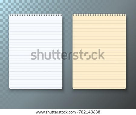 illustration photorealistic paper notebook notepad template stock