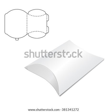 Illustration of Pillow craft Box for Design, Website, Background, Banner. Folding package Template. Fold pack with die line for your brand on it - stock photo