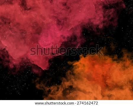 Illustration of pink and orange nebulas and stars in cosmos - stock photo