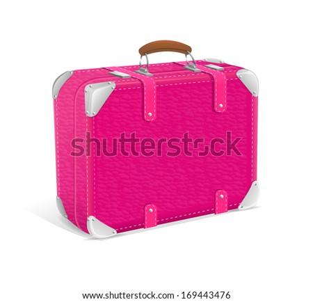 illustration of pink trawel suitcase - stock photo
