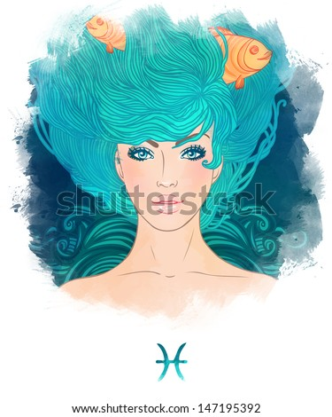 Illustration of Pisces astrological sign as a beautiful girl. Watercolor art - stock photo
