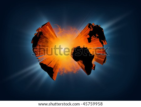 Illustration of planet earth exploding in a  ball of fire - stock photo