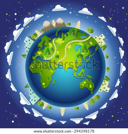 Illustration Planet Earth Oceans Seas Form Stock Illustration - Oceans and seas of the world