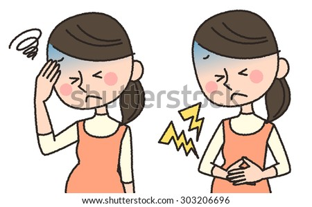 illustration of pregnant woman having headache and stomachache - stock photo