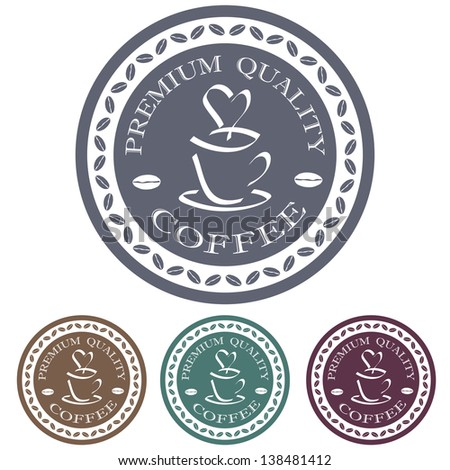illustration of premium quality coffee label stamp logo design element.