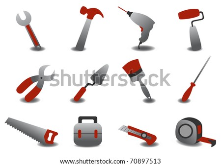 illustration of professional repairing tools icons. - stock photo