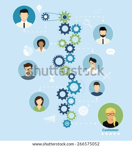 Illustration of project team working process from manager to customer - stock photo