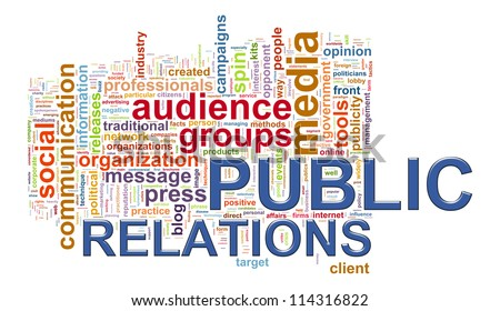 Illustration of public relations wordcloud - stock photo