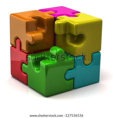 Illustration of puzzle cube - stock photo